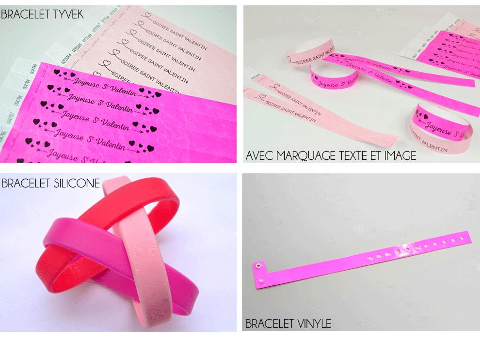 Bracelets evenementiels pour la Saint Valentin fabriqués par 123 Bracelets. Différents modèles en plastique et en papier.