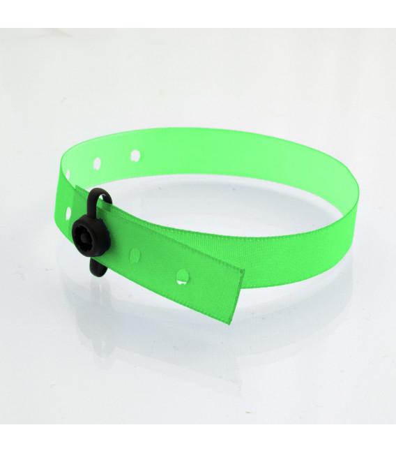 Bracelets tissu clip plastiques satin - marqués